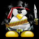 Rambo Tux, the Linux mascot